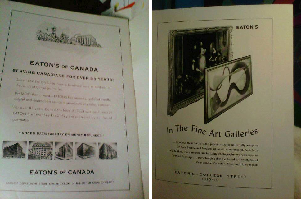 Eaton's, Canadian Art Magazine - Odette Nicholson -