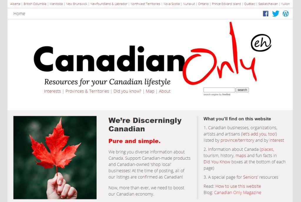 Canadian Only home page at canadianonly.ca