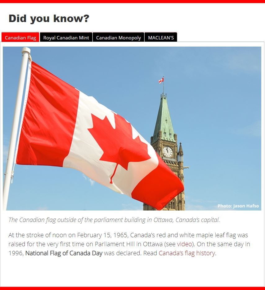 'Did You Know' at the bottom of the home page on the canadianonly.ca website